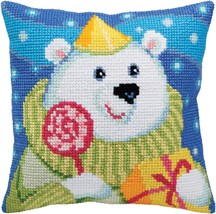 Collection D'Art Stamped Needlepoint Cushion Kit Candy Teddy - Aqua Back... - $26.08