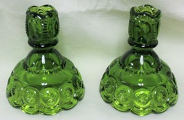 2 LE Smith Glass Green Moon & Stars Short Candlesticks Scalloped Edge 4 ... - $32.99