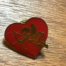 Estate Small Enamel Goldtone Heart with Cupid Valentine's Day Holiday La... - $8.59