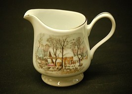 Currier & Ives by Avon Milk Creamer 8 oz. Winter Snow Scene w Smooth Gol... - $12.86