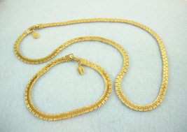 Park Lane Necklace Bracelet Gold Plate Nugget Edge Textured Interlocking... - $24.70