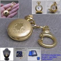 GOLD Women Pendant Watch 26 MM Brass Case 2 Ways Key Ring + Necklace Gif... - $14.49