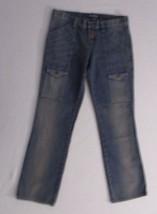 Women Jeans 6 Blue Solid Button Fly Straight Leg Cotton London Jeans 1755 - $14.50