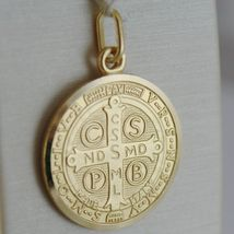 SOLID 18K YELLOW GOLD ST SAINT BENEDICT PROTECTION MEDAL CROSS, MADE IN ITALY  image 3
