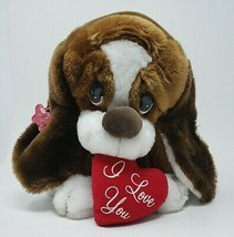 VINTAGE RUSS BERRIE BAXTER PUPPY DOG I LOVE YOU HEART STUFFED ANIMAL PLU... - $26.65