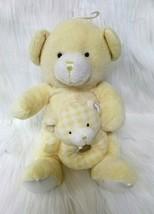 Kids Preferred Bear w Baby Hand Rattle Lovey Yellow Lovey Plush Stuffed ... - $14.99