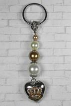 Heart Crown Glass Pearl Beaded Handmade Keychain Split Key Ring Ivory Go... - $19.39