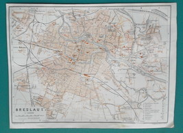 "1925 BAEDEKER MAP - POLAND Wroclaw Breslau 6 x 8"" (15 x 20 cm) for Genea... - $16.20"