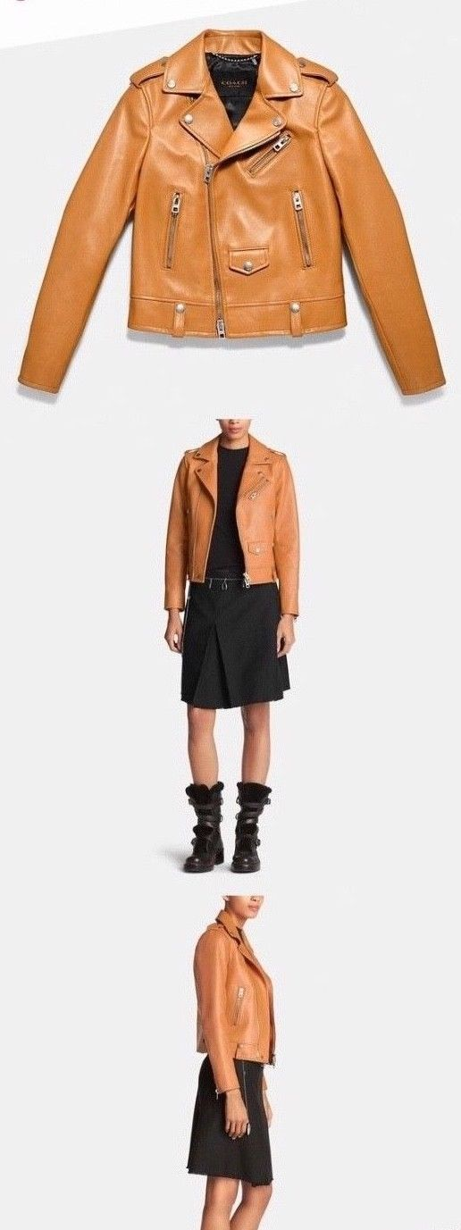 Primary image for Coach women's SZ 2 Leather icon FASHION moto jacket Brown Butterscotch NWT $995