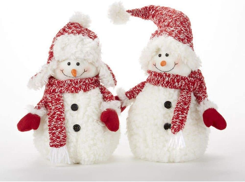 Delton 11 Inches Christmas Fluff Snowman Stump, Set of 2, 16