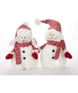 "Delton 11 Inches Christmas Fluff Snowman Stump, Set of 2, 16"" - £28.78 GBP"