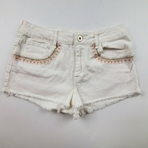 Bullhead Womens Jean Shorts Juniors Sz 7 High Rise Short Cutoff White Denim - $14.52