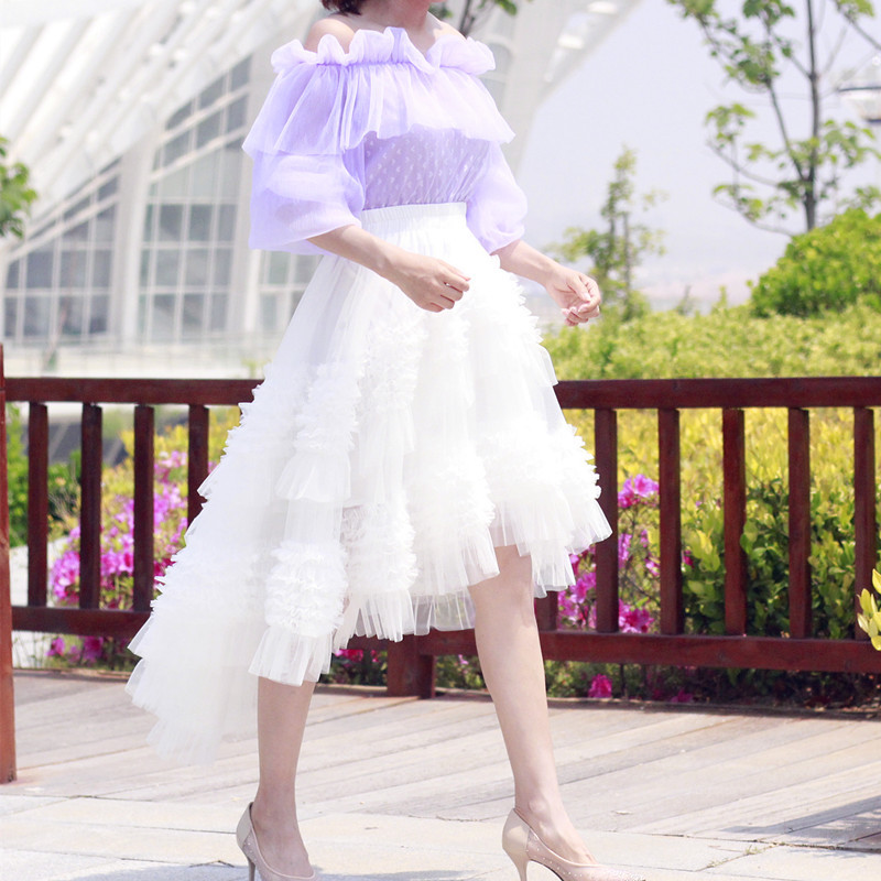 White Hi-lo Tulle Layered Skirt Tulle Outfit Handmade Wedding Bridesmaid Skirt
