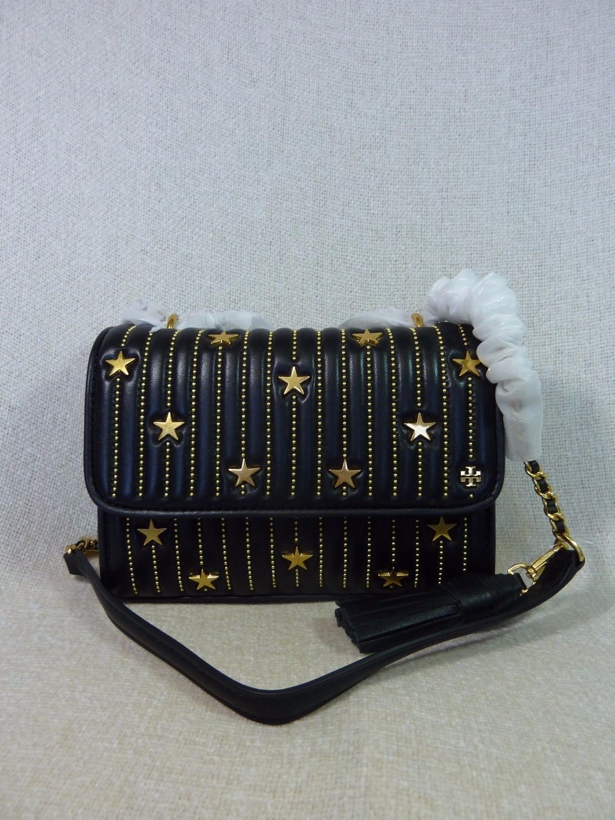 NWT Tory Burch Black Fleming Star-Stud Small Convertible Bag