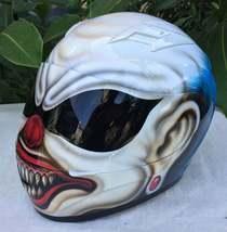 New Custom Airbrush Helmet Clown Laugh Blue Hair (Dot & Ece Certified) - $250.00