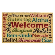 Coir Welcome Mat, Modern Decorative Multilingual Welcome Doormat For Fro... - $35.99