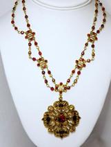 Avon Siam Red w AB 2 Strand & Medallion Wedding Bridal Necklace Feminine Bridal  - $42.95