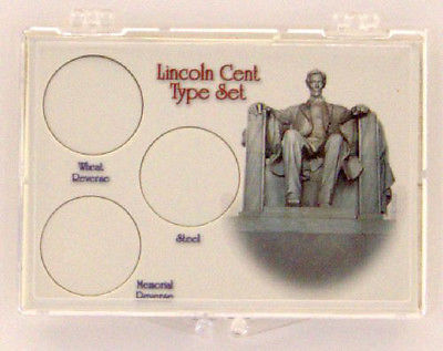 Lincoln Cent Type Set, 2x3 Snap Lock Coin Holder, 3 pack