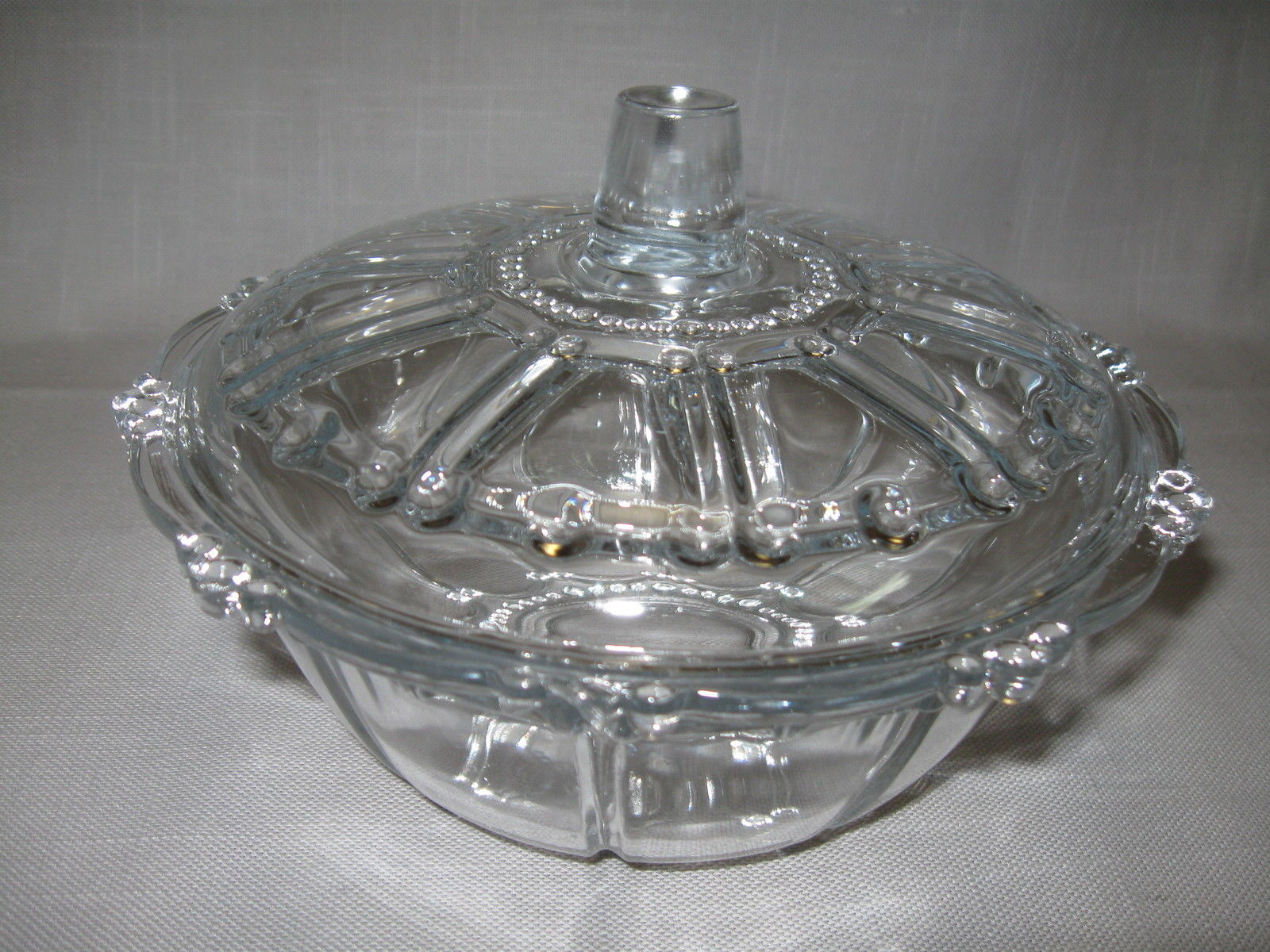 Primary image for Crystal Clear Glass Candy Compote  Bon Bon Bowl With Lid  Beaded Designs