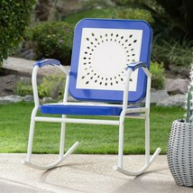 Retro Vintage Style Blue White Metal Patio Rocking Chair Outdoor Furniture  - €113,19 EUR