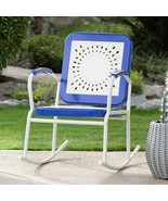 Retro Vintage Style Blue White Metal Patio Rocking Chair Outdoor Furniture  - $126.47