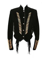 Men's New Native American Black Cow Suede Leather Fringes Boness Jacket ... - $175.00+