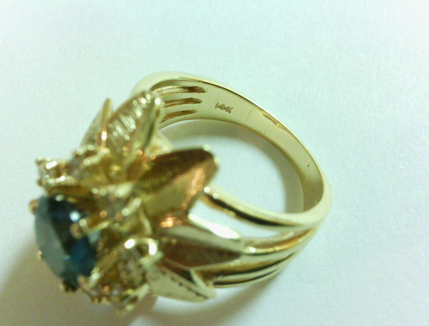 Vintage 14k Karat Gold, Diamonds and Blue Topaz Flower Cocktail Statement Ring
