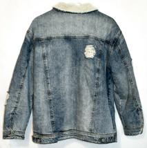 Missguided Women's Distressed Denim Fleece Lined Heavy Winter Coat Size 6 image 2