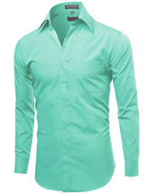 NEW Omega Italy Men's Dress Shirt Long Sleeve Solid Color Regular Fit 15 Colors image 8