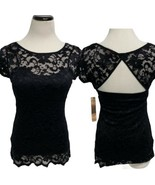 ALMOST FAMOUS Junior Women's Black Lace Dressy Shirt Lined Body Hugging M - $24.74