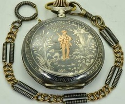 Antique Imperial Russian award Silver,Niello&Gold hunting scene pocket w... - $2,900.00