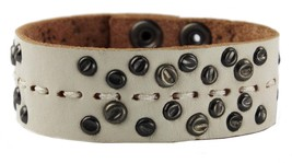 NEW JOE'S JEANS LEATHER STUDDED CUFF WRISTBAND BRACELET WHITE JJ5003