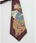 Mens Tie Silk Christmas Holiday Toys Children Santa Burgundy Stafford - $11.69