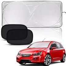 PEYOU Car Sun Shade for Windshield, Bonus 2 PCS Car Side/Rear Window Sun Shades-