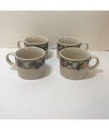 "4 Coffee Tea Mugs Sakura Magesticware Sue Zipkin Trellis Fruits 2.5"" tall - $19.34"