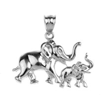 Sterling Silver Elephant with Mother and Child Lucky Charm Pendant - $69.44