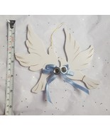 Doves wooden Christmas tree ornament with bells & blue ribbon small defe... - $0.99