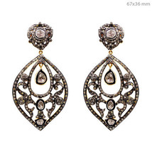 14k Gold 4.88Ct Rose Cut Diamond Dangle Earrings 925 Sterling Silver New... - $1,236.10