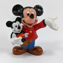"""Vintage Disney Mickey Mouse Holding Mickey Doll Applause PVC 2"""" Figurine - $5.89"""