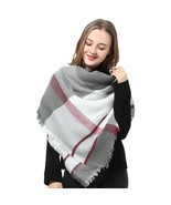 Women Blanket Warm Soft Scarf Plaid Pashmina Winter Wrap Shawl Gifts Gra... - $23.96 CAD