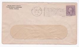 THOMPSON & COMPANY TAMPA FLORIDA JAN 19 1919 FLAG CANCEL WINDOW ENVELOPE - $1.98