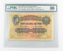 1942 East Africa 20 Chelines o 1 Libra (VF-30 PMG ) Moneda Board £P-30A - $1,328.90