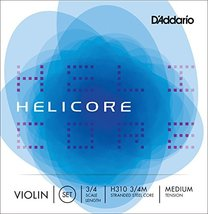D'Addario Helicore Violin String Set, 3/4 Scale, Medium Tension - H310 3/4M - $24.75