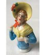 Vintage Woman in Bonnet Half Doll Pin Cushion Porcelain Marked Foreign 2... - $49.95