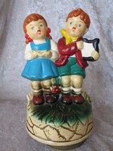 1960s Vintage Boy & Girl Figurine Music Box Sin... - $27.94