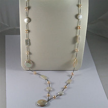 .925 SILVER RHODIUM NECKLACE 33,46 In, BAROQUE ROSE PEARL, ROUND & SPHERE SHAPE. image 2
