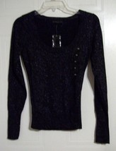 Attention Woman's Black Sparkling Long Sleeve Shirt / Top - Size: XS - $11.61