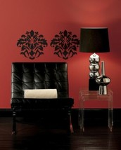 Large Black Damask Design Peel & Stick Appliques RMK1171GM - $21.29