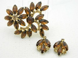 VTG Gold Tone Topaz Citrine Rhinestone Leaf Brooch Pin Earrings Set Juli... - $74.25