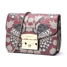 NEW Furla LIMITED EDITION Metropolis RED/ BLACK/GOLD Peacock Crossbody Bag - $375.00